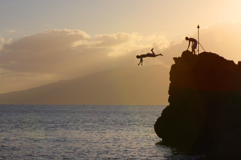 Cliff Diving from the Black Rock - Mauis most inviting photo, Maui, Hawaii, USA