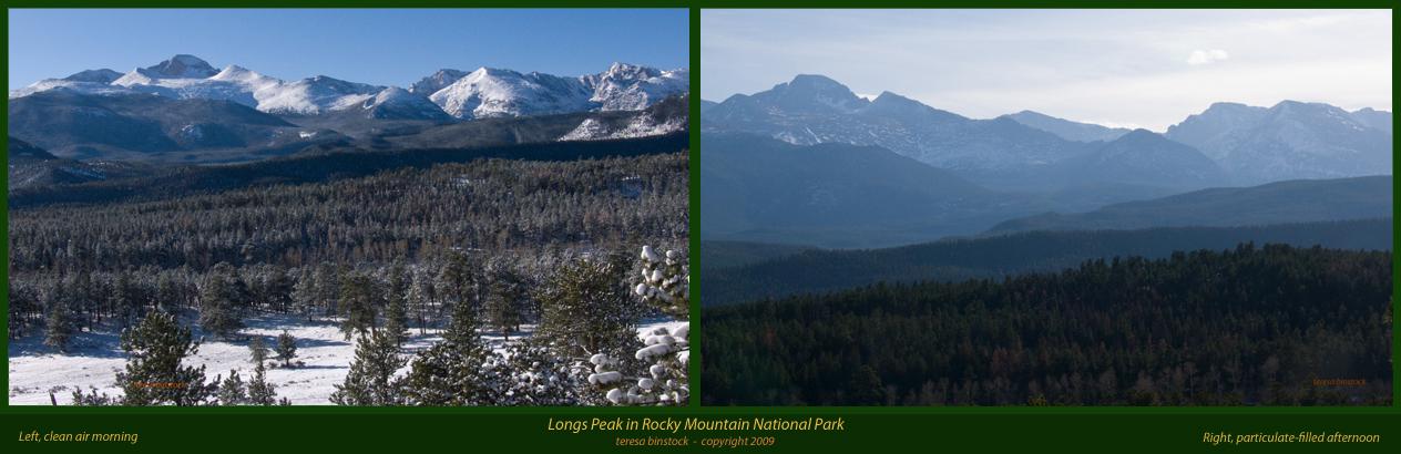 Looking toward Longs Peak - clear morning, hazy afternoon