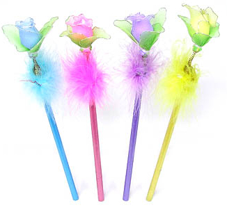 BBT-F007 Glitter Pencil with the Fluffy Rose Topper