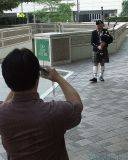 Getting a picture of the bagpiper