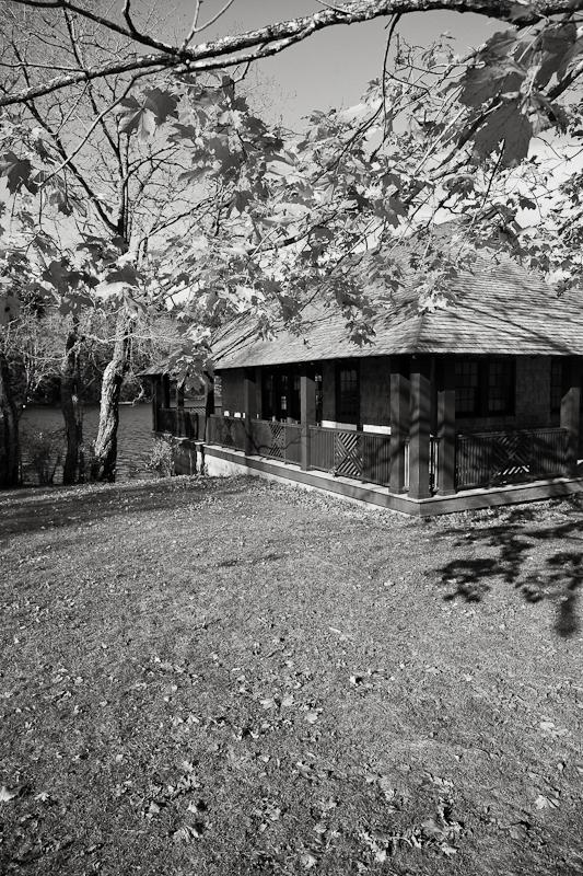 Boathouse in AutumnMonochrome