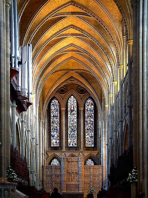 Screen and window, Truro Cathedral, Cornwall