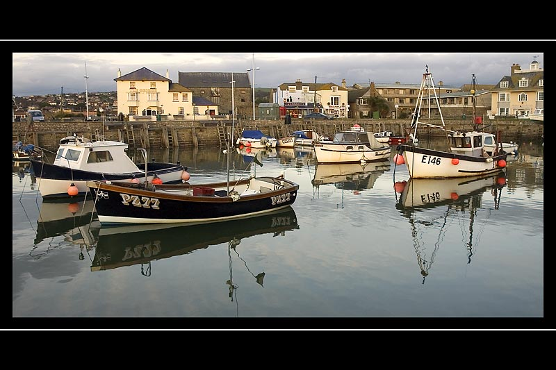 Perfect reflections, harbour end, West Bay, Dorset