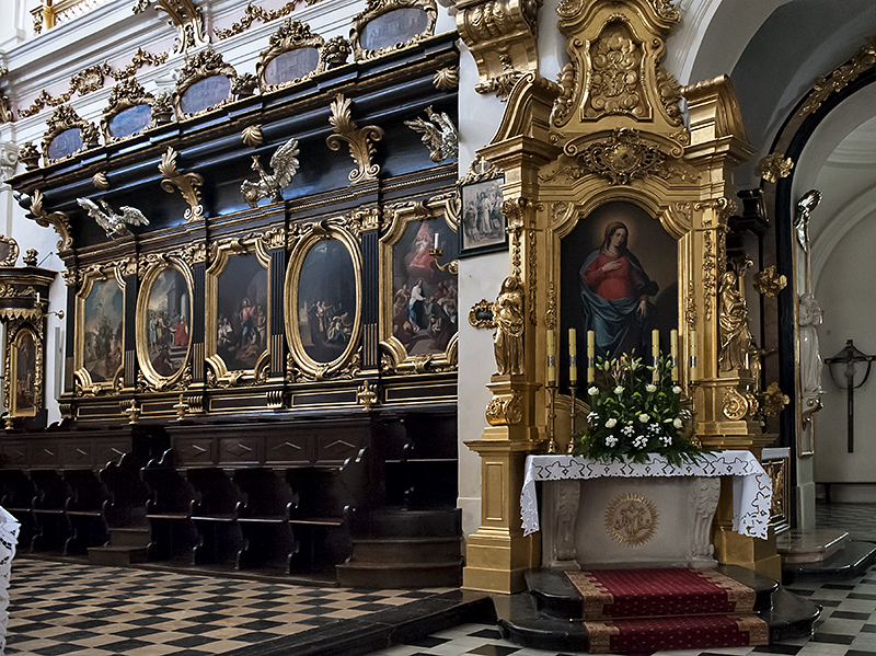 St. Florians Church, choir stalls, altar
