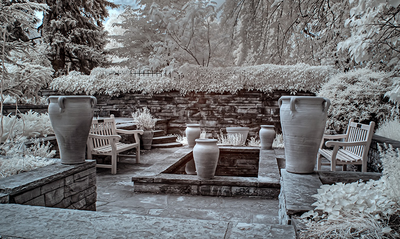 Pots and Stone Pool Infrared HDR