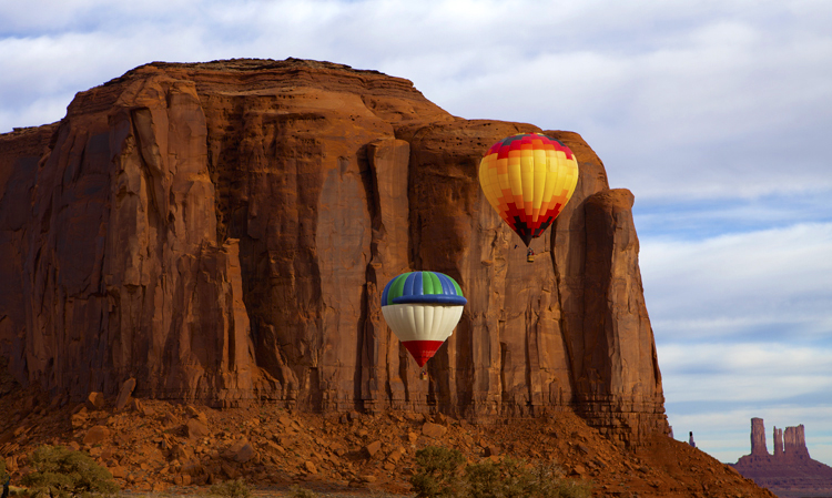 Two Balloons Rising, North Window, Monument Valley, Navajo Tribal Park, AZ/UT