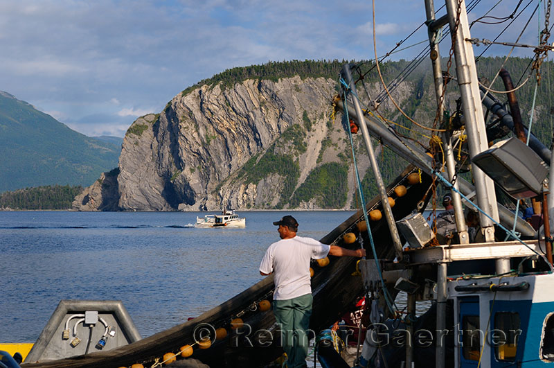 Fishermen hauling in net on East Arm Bonne Bay at Norris Point at the end of the day with Shag Cliff