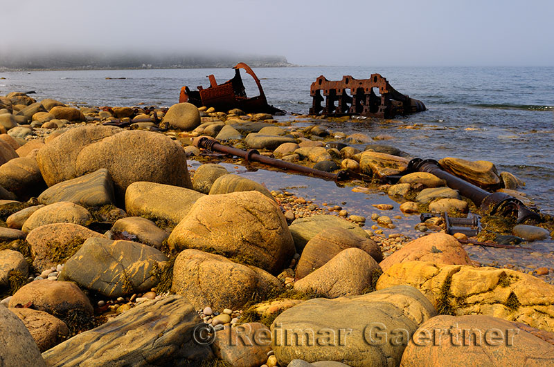Rusted remains of the SS Ethie coastal steamship that ran aground in a 1919 storm at Martin Point