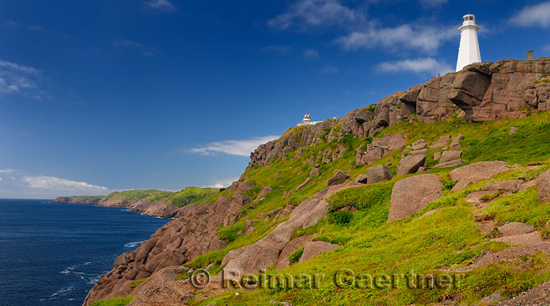 Oldest lighthouse in Newfoundland on left and new one at Cape Spear National Historic Site