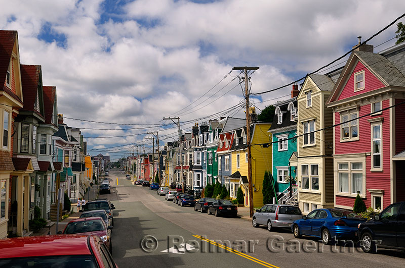 Colorful clapboard houses on Gower Street in downtown St. John`s Newfoundland