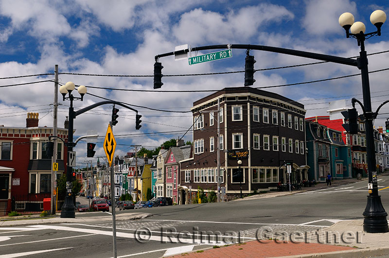 Military Road and Gower Street in downtown St. John`s Newfoundland
