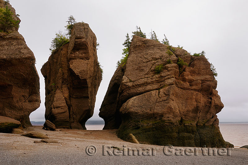 Large Flower Pot sea stacks at low tide at Hopewell Rocks Bay of Fundy New Brunswick