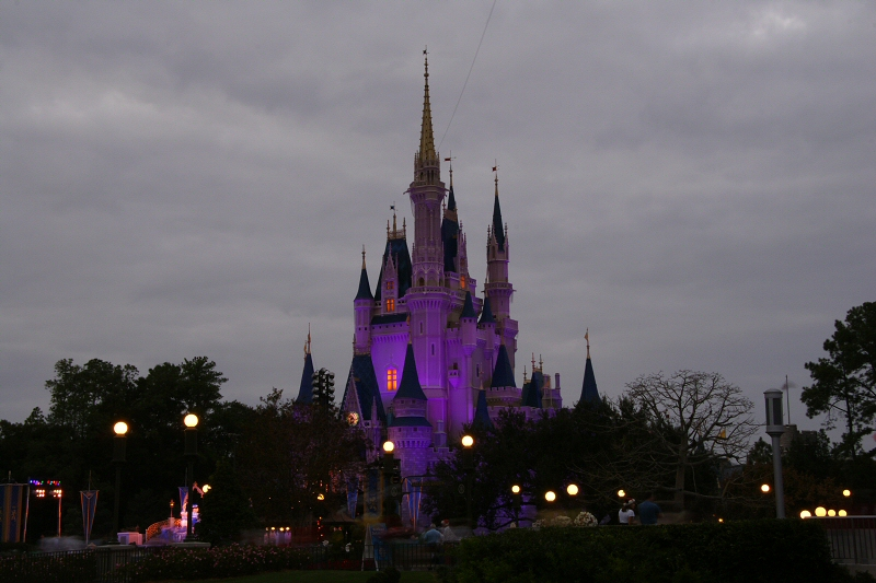 Castle lights at dusk