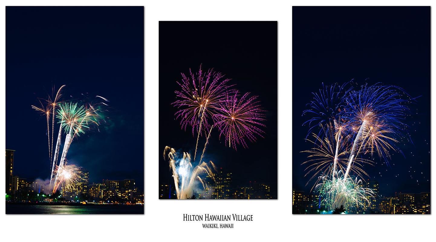 fireworks triptych