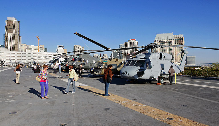 Helicopters on the flight deck of the USS Midway