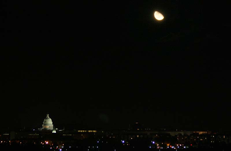 Moon Rise over the U.S. Capitol Building