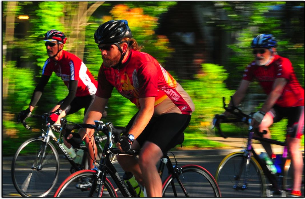Early Morning Cyclists, Chico, California