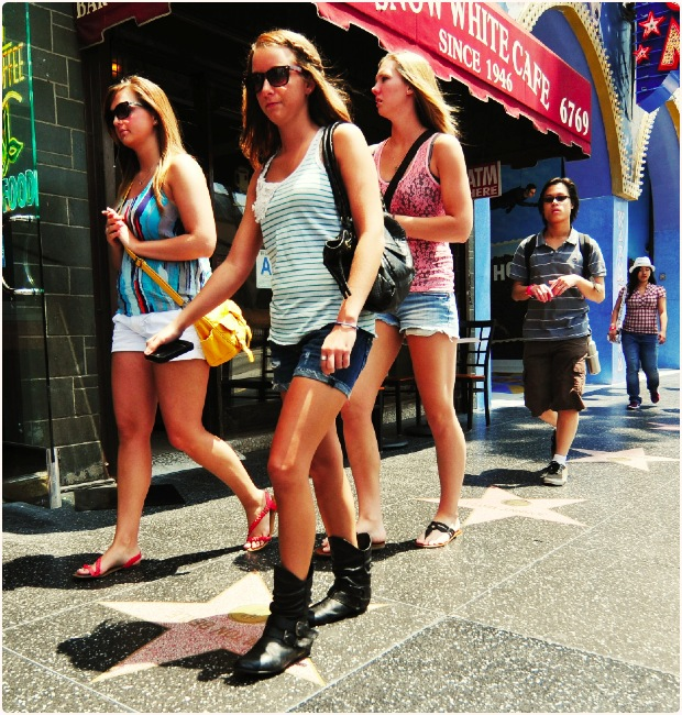 Tourists Along Hollywood Blvd.