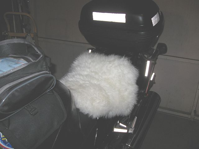 June 14, 2009 - Home made sheepskin motorcycle seat cover...