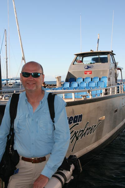 Dale in front of Pacific Whale Founcation Ocean Explorer boat