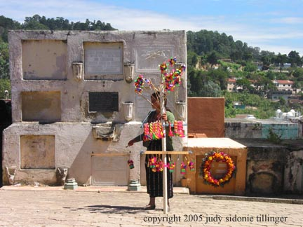 selling candy at the cemetery, solala, guatemala