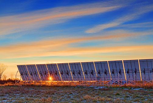 Solar Array At Sunrise 20111217