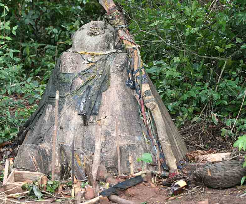 Voodoo. Legba in the Sacred Forest in Possotomé. It especially helps women if they have problems during their pregnancy.