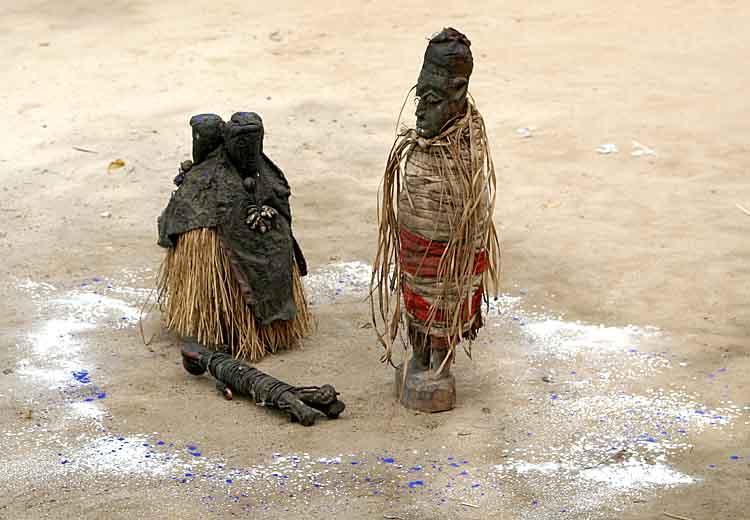 Voodoo. Fetishes used for the trance dance at Houndjohoundji.