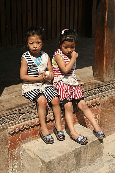 Little girls in Bandipur, Nepal.