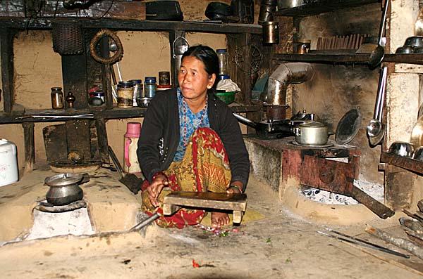 Inside a house in Ghale Gaun, Nepal.