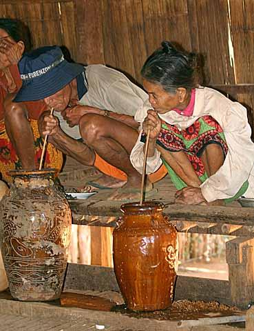 Jars of rice wine, Kameng, Cambodia.