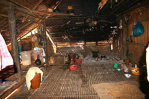 Inside a Kreung house in Kameng village, Cambodia.