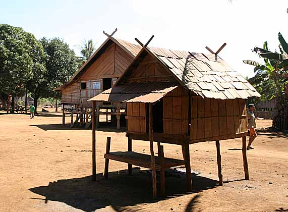 Girls` house in Kameng village, Cambodia.