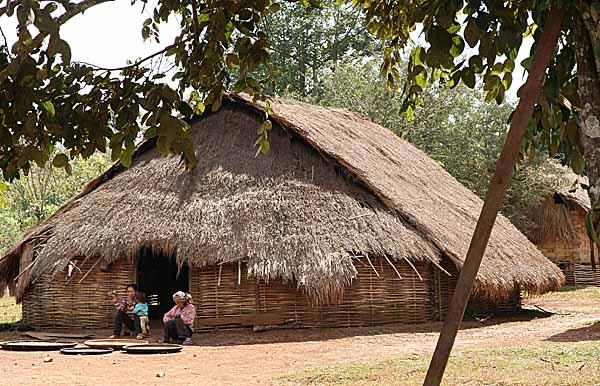 Traditional Phnong house in  Pu Lang Village II, Mondulkiri, Cambodia