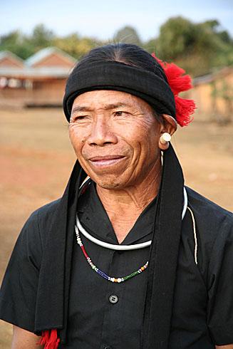 Phnong man in traditional clothes. Pu Tang Village, Mondulkiri, Cambodia