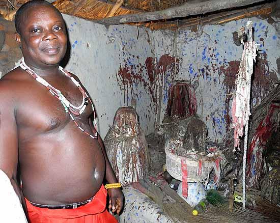 Fetish priest Mensah Gakli and his fetishes.