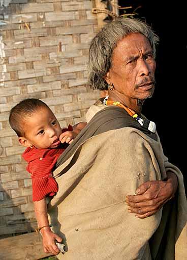 old Zeme Naga with grandchild