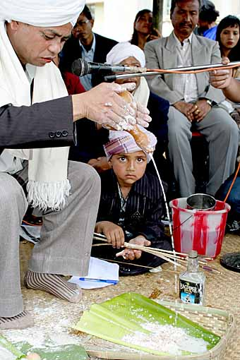 Rice wine is poured over the rice flour