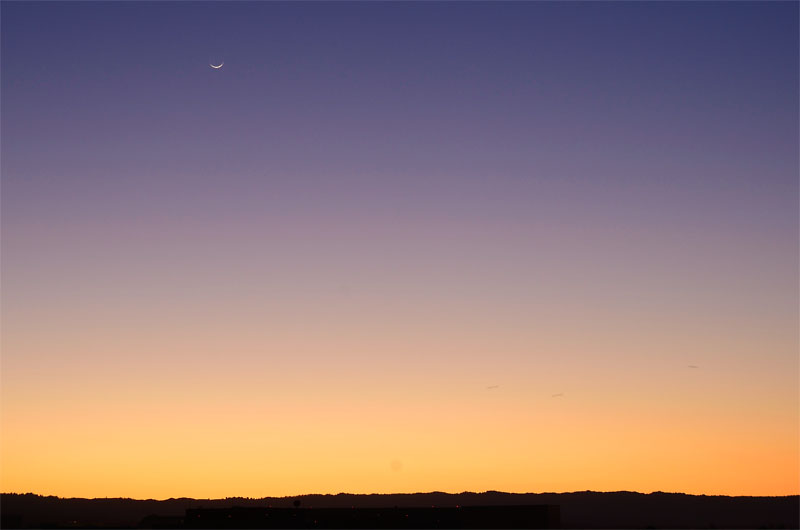 Thin Moon at sunset