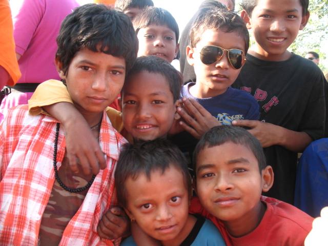 greeting Nepalese school boy