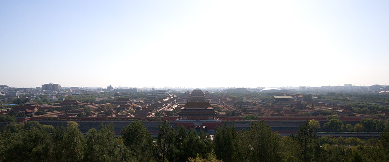 Wide shot of the Forbidden City from the top of Jing Shan.
