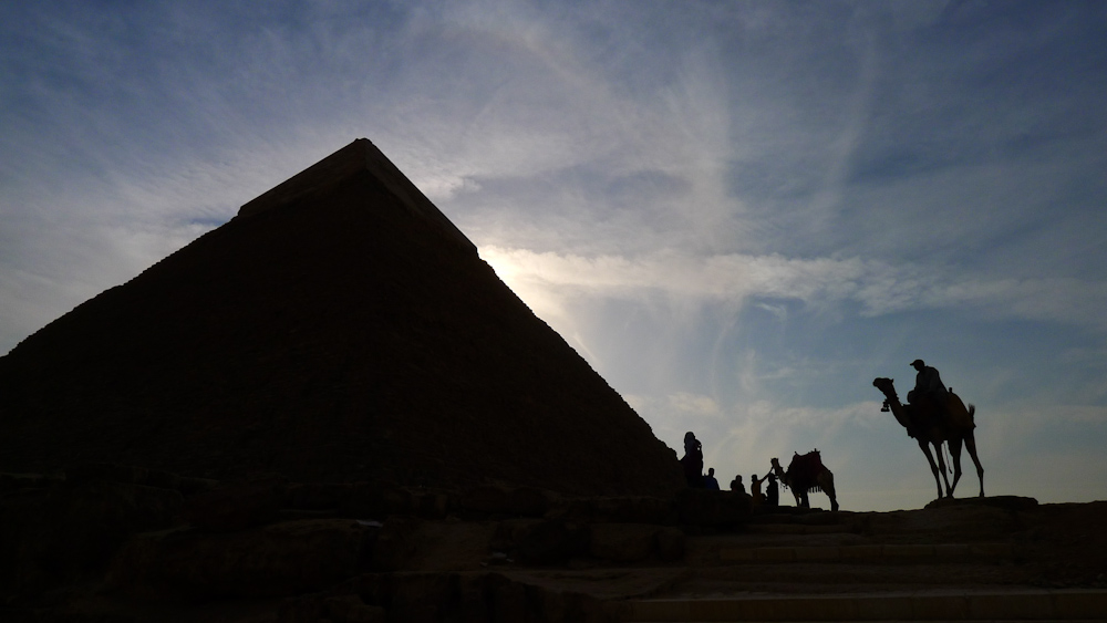 Ancient scene, the Pyramids, Cairo, Egypt, 2011