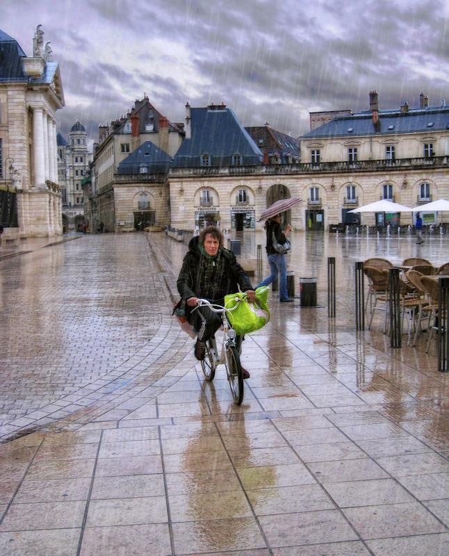 Take a bike and brave the rain!