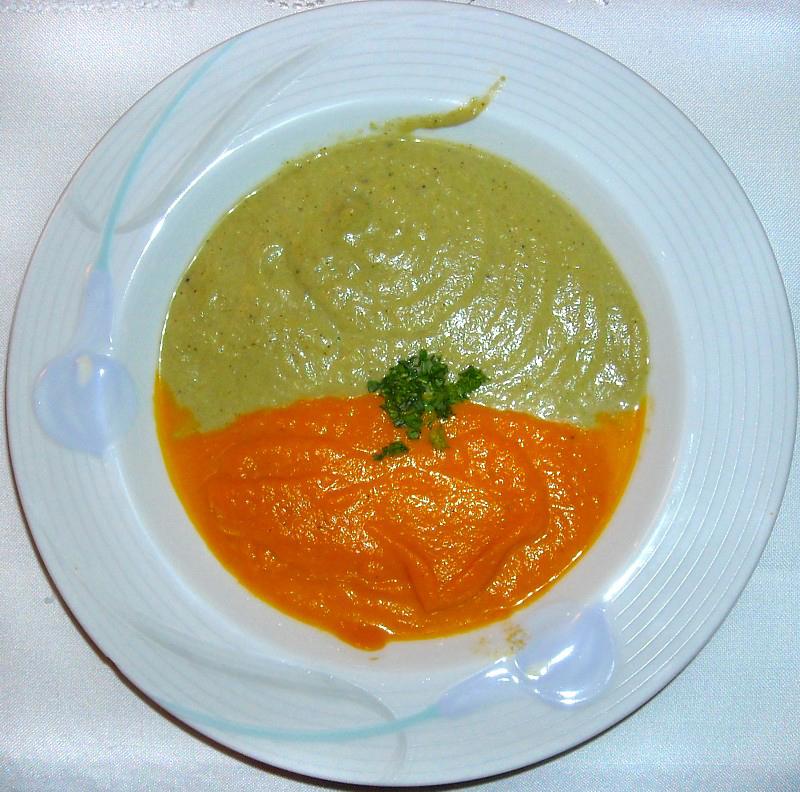 Soupe onctueuse bicolore Broccoli et courge