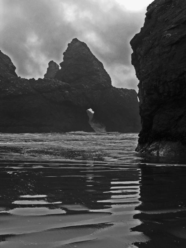 Pistol River Rocks and the Hole - BW