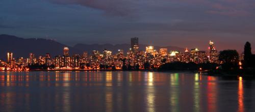 Vancouver at night, panoramic