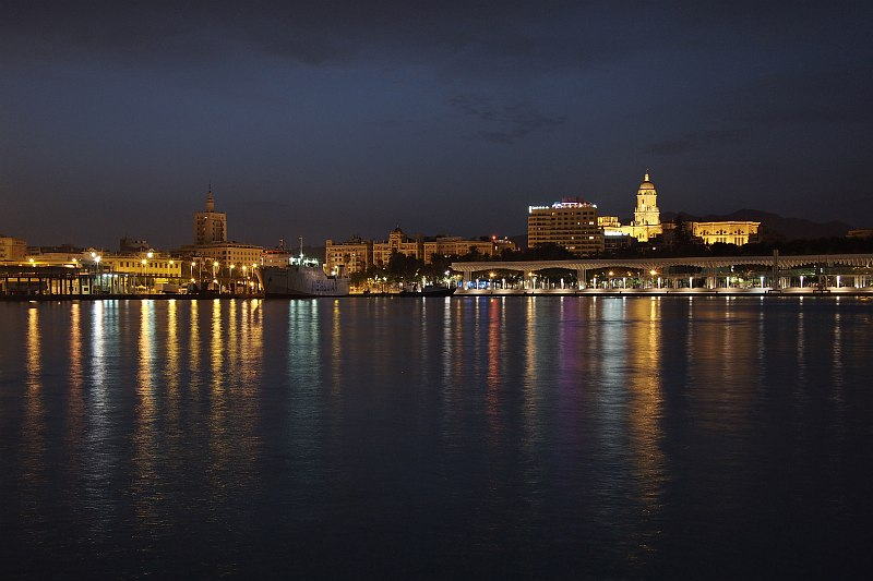 The harbour and central Malaga, from Muelle Uno