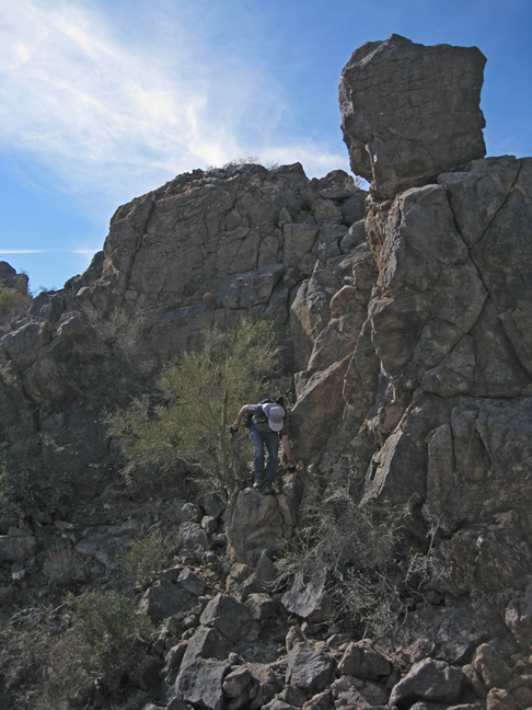 Up and over a rocky spot along the ridge