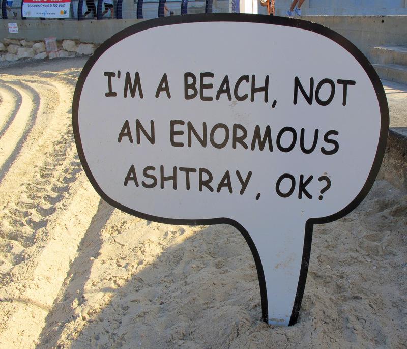 The Sign on Tel Aviv Beach