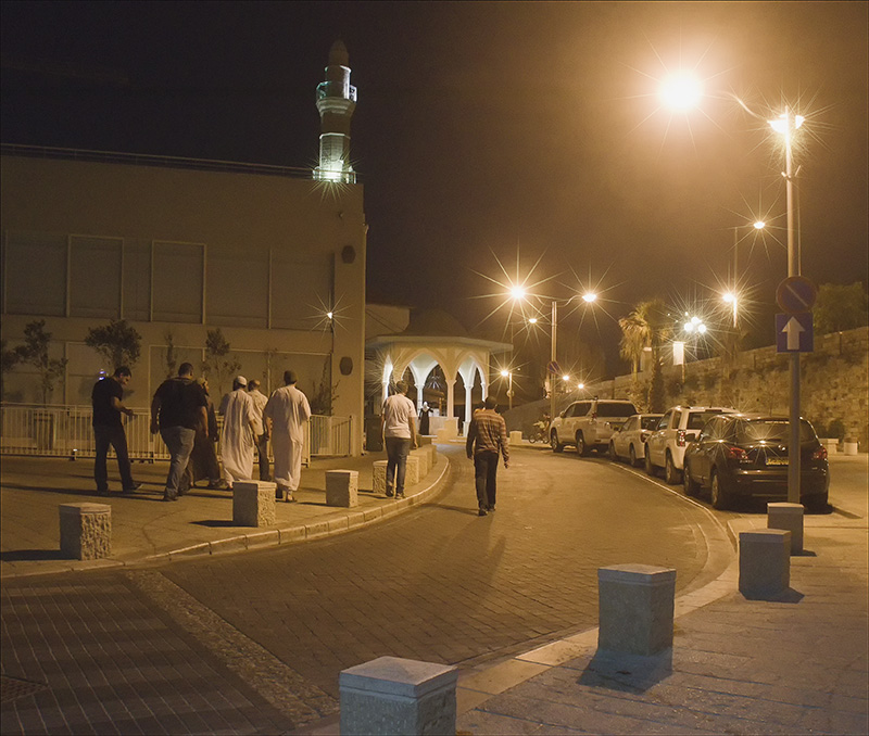Night Lights leading the the mosque at Jaffa Port.jpg